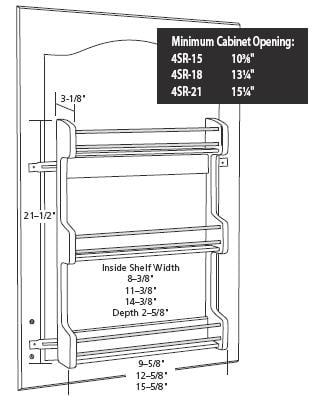 Wood Door Mount Spice Rack Specs