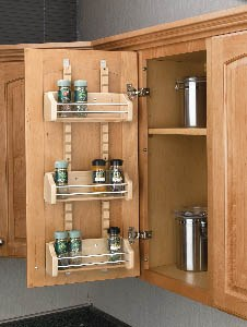 Adjustable Door Mount Wood Spice Rack