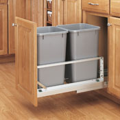 Double Pull-Out Waste Containers- White
