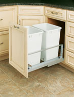 Double Pull-Out Waste Containers- Metallic Silver