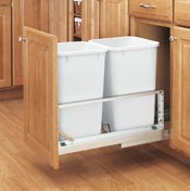 Double Pull-Out Waste Containers- Soft-Closing Door Mount Slides