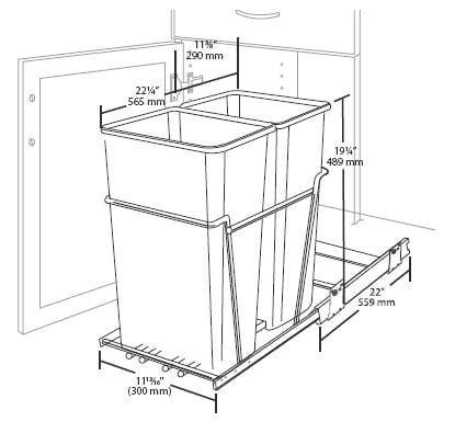 Double Pull Out Waste Container Specs