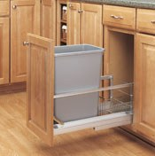 Single Pull-Out Waste Container- Soft Closing Door Mount Slides