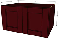 "Bordeaux Shaker 24 Deep Double Door Cabinet 18""H x 33""W"