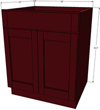 "Bordeaux Shaker Sink Base Cabinet 30""W"