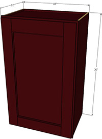 "Bordeaux Shaker Single Door Cabinet 30""H x 18""W"