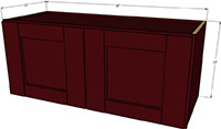 "Bordeaux Shaker Double Door Wall Cabinet 15""H x 36""W"