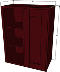 "Bordeaux Shaker Blind Wall Cabinet Right 30""H x 27""W"