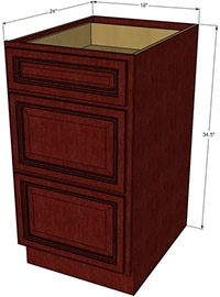 Cherryville Three Drawer Base RTA Cabinet
