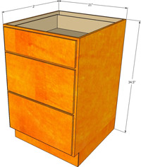 Birmingham Shaker Three Drawer Base Cabinet