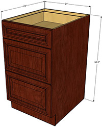 Berwyn Three Drawer Base Cabinet