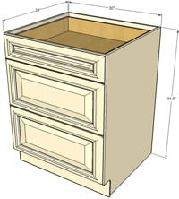 Tuscany Three Drawer Base RTA Cabinet