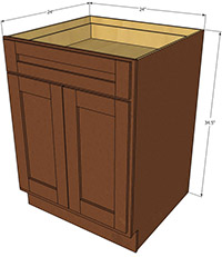 Sienna Shaker Double Door Base RTA Cabinet