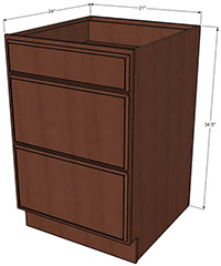 Sunset 3 Drawer Base RTA Cabinet