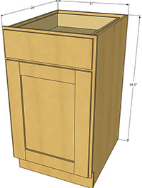 Natural Shaker Single Door Base Cabinet