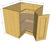 "12"" Natural Shaker Base End Angle Cabinet Right"