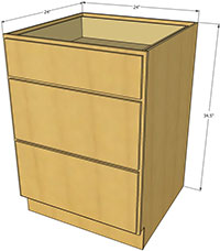 Natural Shaker Three Drawer Base Cabinet