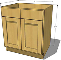 Natural Shaker Sink Base Cabinet