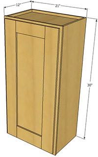 Natural Shaker Single Door Wall Cabinet