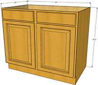 Richmond Sink Base Cabinet 42 W RTA Kitchen Cabinets