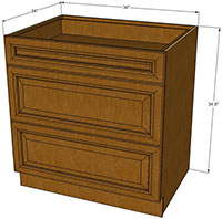 Rustic Brown Three Drawer Base RTA Cabinet