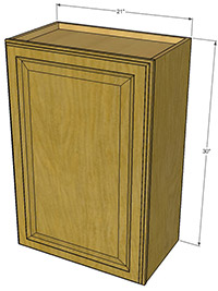 "Premier Oak Single Door Cabinet 30""H x 21""W"
