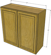 "Premier Oak Double Door Cabinet 30""H x 30""W"