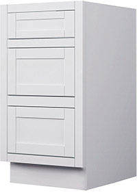 Adirondack White Three Drawer Base Cabinet