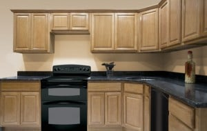 Oak kitchen cabinets in L-shaped kitchen