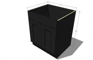 """36"""" Sink Base Cabinet- Mocha Shaker"""