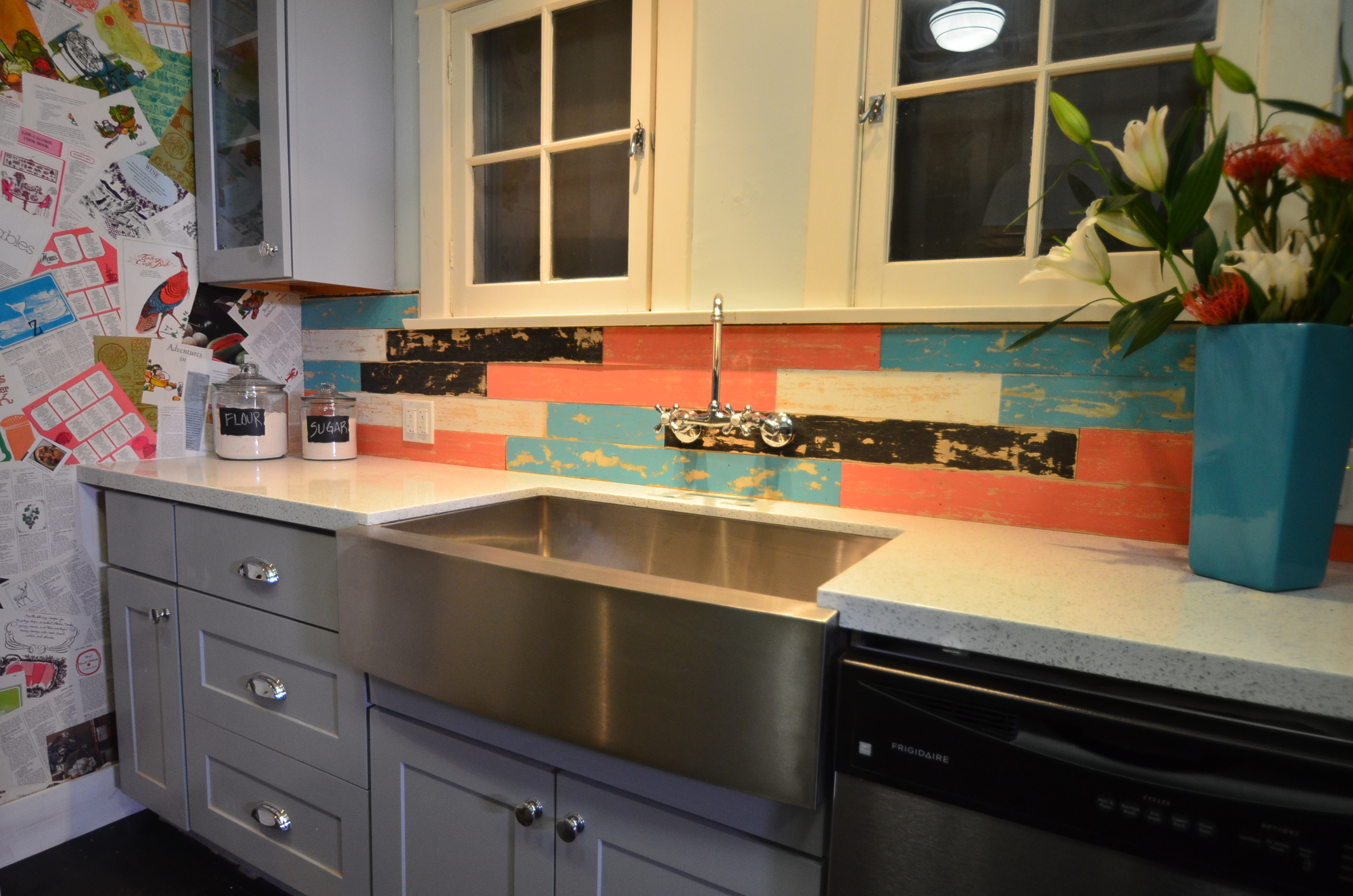 Natural Shaker cabinets painted bluish gray ? RTA Kitchen Cabinets