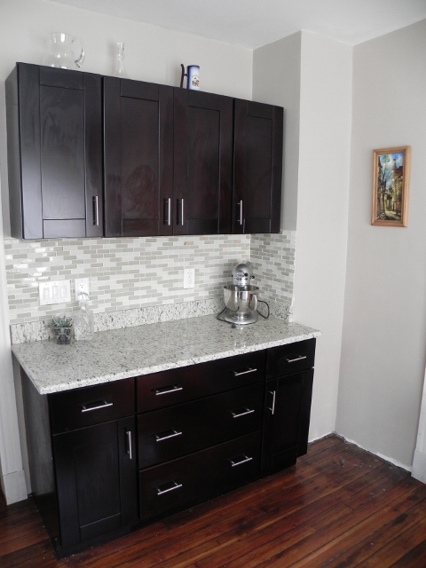 Bar area with our mocha shaker cabinets and handle pulls for Adding knobs to kitchen cabinets