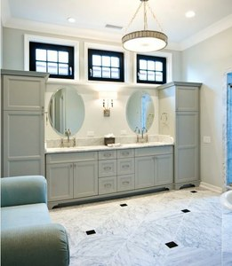 Vanity Designs  Bathrooms on Double Vanity And Linen Cabinet Combo While This Is A